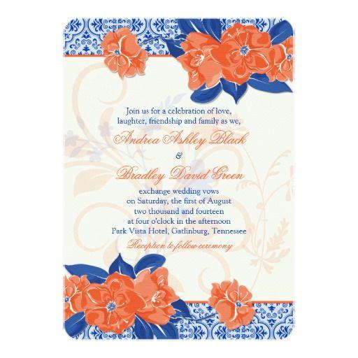 146 best cobalt blue wedding invitations images on for Royal blue and coral wedding invitations