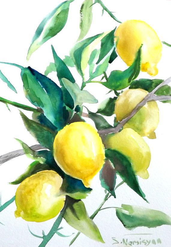 Lemons, Lemon tree, original watercolor painting, 12 X 9 in, oriignal art, fruits aRT, yellow, green, kitchen art