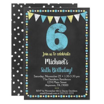 Blue Yellow Chalkboard 6th Birthday Invitation