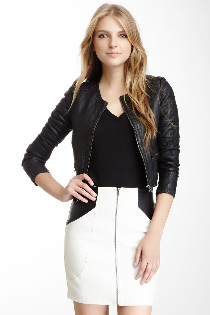 Zomsa Quilted Leather Biker Jacket