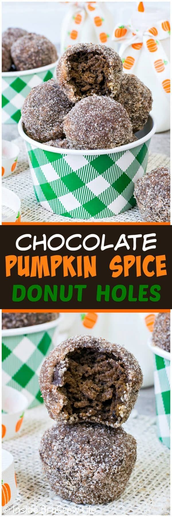 Chocolate Pumpkin Spice Donut Holes - little soft donut holes coated in a crunchy sugar coating makes an awesome breakfast treat. This is a must make recipe for fall! #pumpkin #donuts #fall