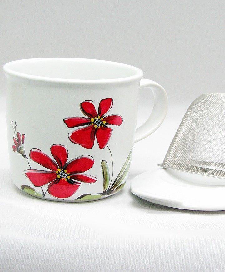 Tasse à tisane ou thé : : Fleurs rouges *** Produit peint à la main.