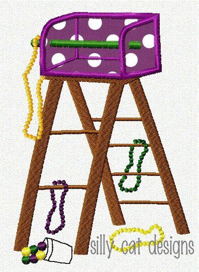 Mardi Gras Ladder Embroidery Design