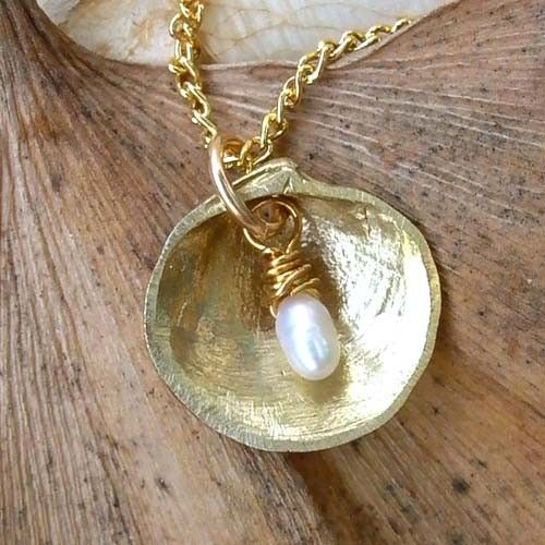 Shell and Pearl Necklace - Brass - White - Pearl - WIre Wrapping - Organic - Nature Inspired - Cottage Chic - Beach Jewelry