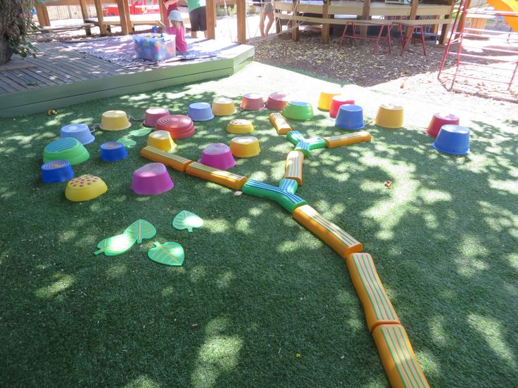 obstacle course set up as a tree shape