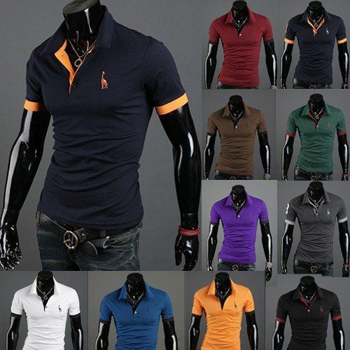 Full Fashion Slim Fitting Short Sleeved Cotton T-shirt with Collar