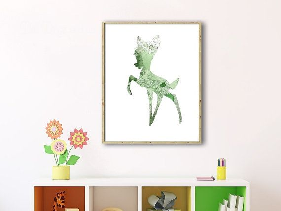 Watercolor Art Print, Bambi Painting, Home Wall Décor, Bambi Art Printable, Digital Bambi, Instant Bambi, Baby Room Decor, Bambi Printable