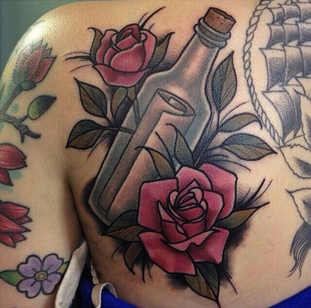 Like the bottle and flowers .. wouldn't be a message