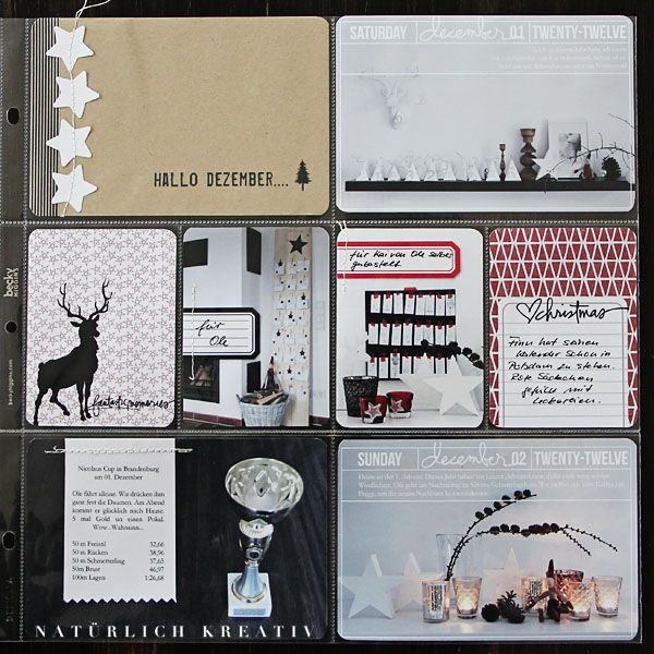much I like here, Love the top and bottom photos, love the stag printed card.     natuerlichkreativ: December Daily 2012
