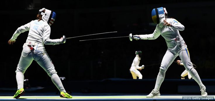 Courtney Hurley (L) in action against Yana Shemyakina (R) of Ukraine in the women''s individual epee at the Rio 2016 Olympic Games at Carioca Arena 3 on Aug. 6, 2016 in Rio de Janeiro.