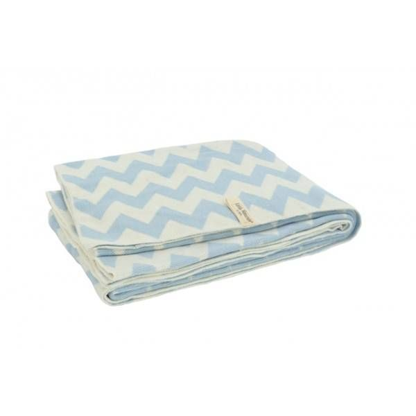 Jollein Little Naturals deken 100x150cm chevron blue/off-white - Ikbenzomooi.nl