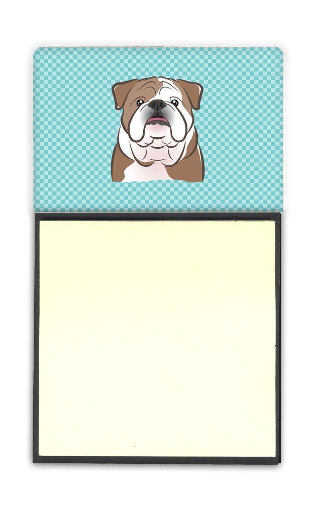 Checkerboard Blue English Bulldog Refiillable Sticky Note Holder or Postit Note Dispenser BB1157SN
