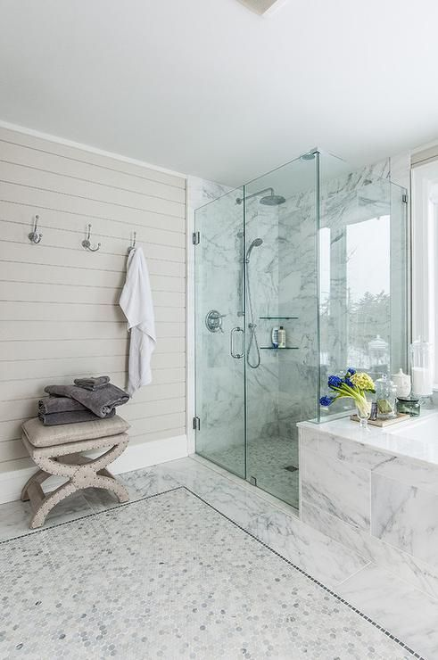 Chic bathroom features a gray shiplap accent wall lined with towel hooks  over a gray linen. 17 Best images about beautiful bathrooms on Pinterest   White