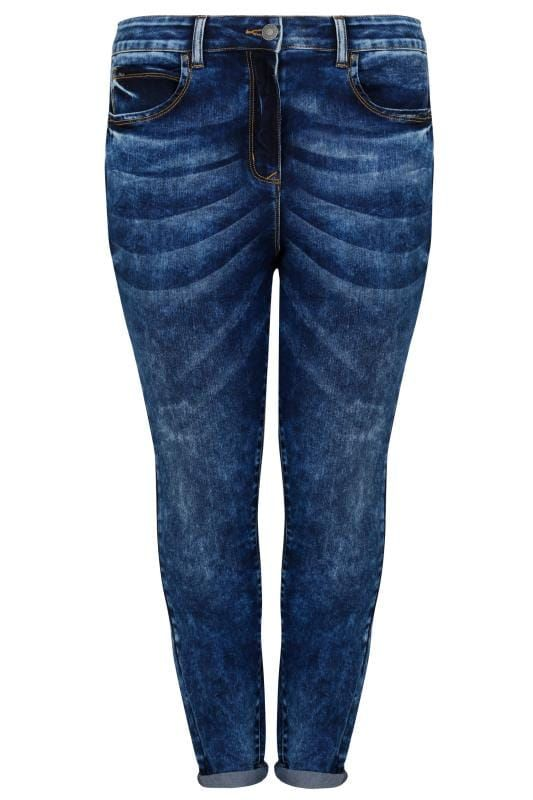 2c58b66982e Shop LIMITED COLLECTION Blue Acid Wash Skinny Jeans at Yours Clothing.  Discover plus size fashion