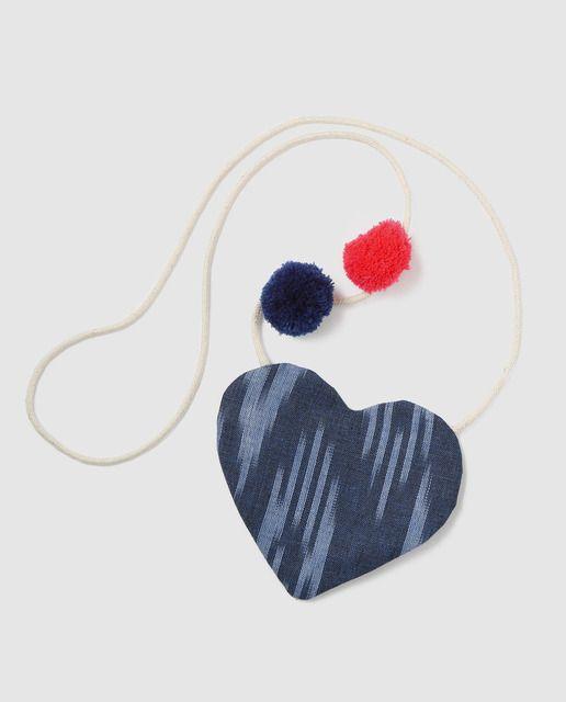 473e2bd303b1 Bolso de niña Brotes corazón étnico con pompones azul