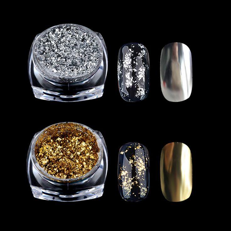 1 Kotak Emas Perak Glitter Serpih Aluminium Cermin Ajaib Efek Bubuk Sequin Nail Gel Polish Chrome Dekorasi Pigmen