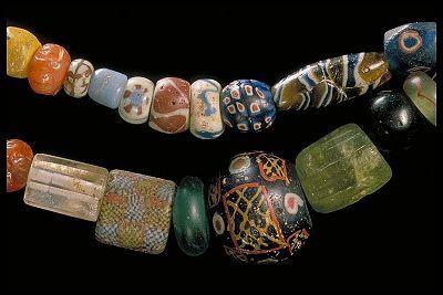 Beads found in Birka grave 515. In the Historiska Museet, Stockholm.