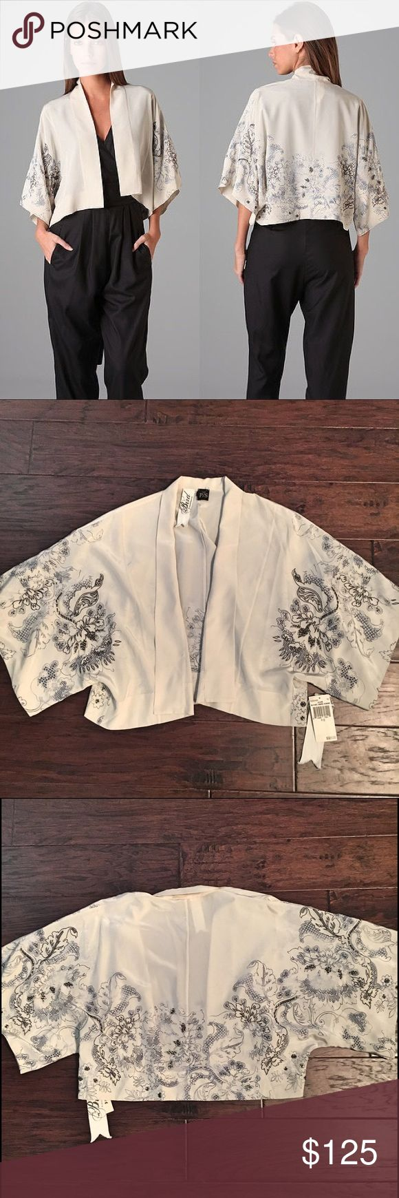 BIRD by JUICY COUTURE KIMONO JACKET BIRD by Juicy Couture Sayuri kimono jacket - 100% silk crepe with beautifully beaded details. Size small but will fit larger due to open loose fit. Perfect condition - NEW with tags. Looks great over a dress or jumpsuit! Bird by Juicy Couture Jackets & Coats