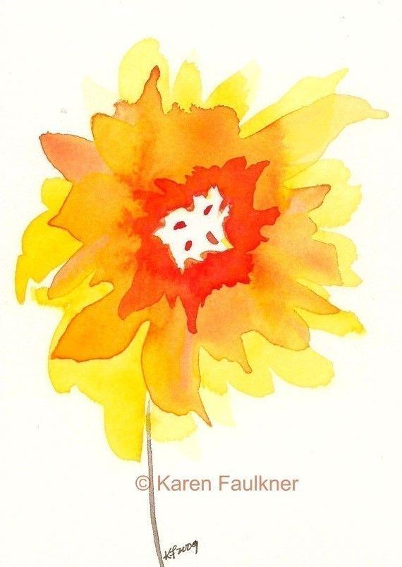 Watercolor Art Print of Abstract Sunflower by karenfaulknerart, $15.00