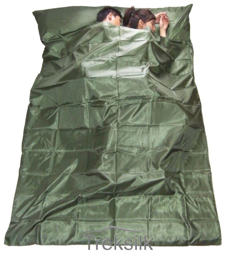DOUBLE TREKSILK Art Silk Liner - Dark Green - Doppel Faux Seide Seidenschlafsack Dunkelgrun