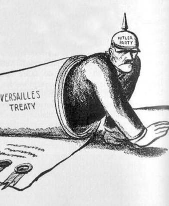 The Treaty of Versailles was a peace settlement that ended WW1 with Germany to blame. This political cartoon shows an embarrassed and angry German crawling out of the Treaty of Versailles. This implies that putting all the blame on Germany did not accomplish much but angered the Germans, which eventually led to the start of WW2 by the forming of NAZI's as shown on the helmet.