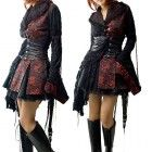 Kimono Gótico Rojo y Negro estilo Ropa Gotica