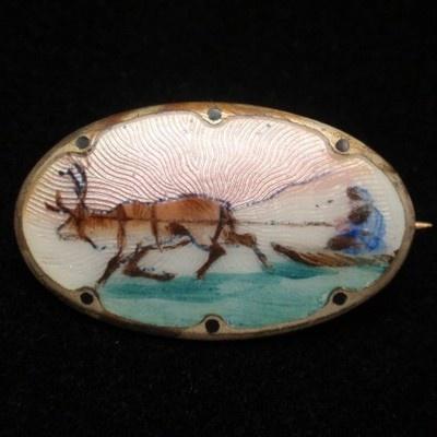 Norway Scenic Picture Pin Vintage Sterling Silver Enamel Reindeer Elk Sleigh