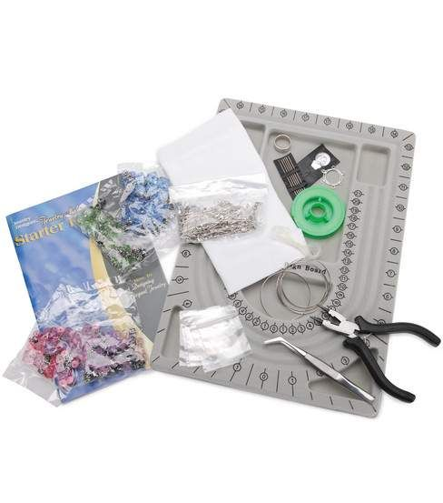Jewelry Making Kit. This fabulous starter kit contains everything you need to start designing and making elegant handmade jewelry. Kit contains 12-1/4x8-3/4in flocked bead board; 7-7/8x7-3/4x 3/4in fl