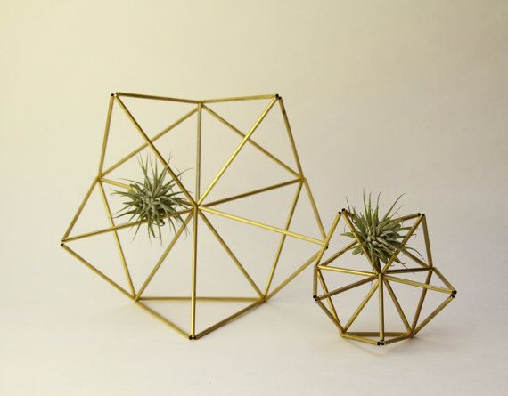 Geometric air plant wall hangers - Brass Planter - Finnish himmeli mobile - mother and child