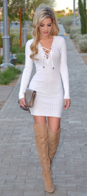Sweter dress white