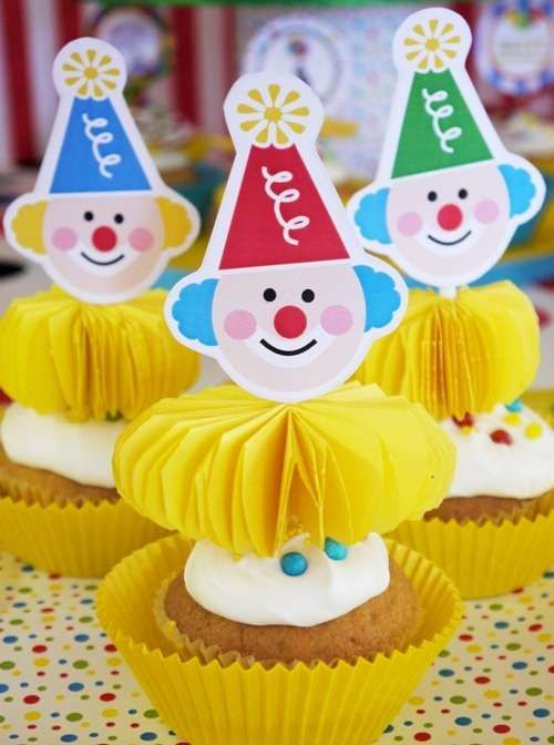 Circus birthday party cupcakes! See more party planning ideas at CatchMyParty.com!