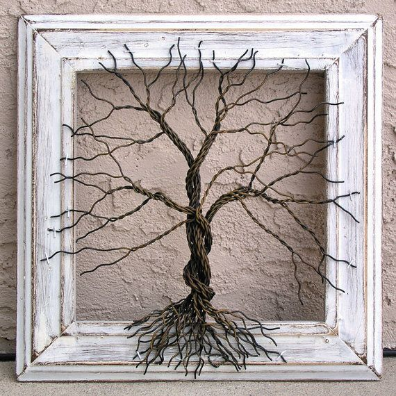 Original Wire Tree Abstract Sculpture Painting ... Wire tree on distressed…