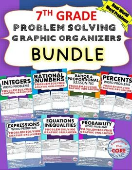 This BUNDLE resource includes 7 sets (69 problems) of 7th Grade real-world COMMON CORE WORD PROBLEMS that students must solve and explain using problem-solving strategies. I created this problem-solving graphic organizer for my 7th graders who struggle solving WORD PROBLEMS and are unable  to explain their work/solution. Students must then organize the information they are given, SOLVE, JUSTIFY their work and EXPLAIN their solution.