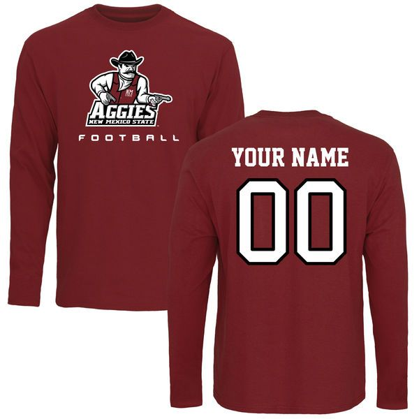 New Mexico State Aggies Personalized Football Long Sleeve T-Shirt - Maroon - $42.99
