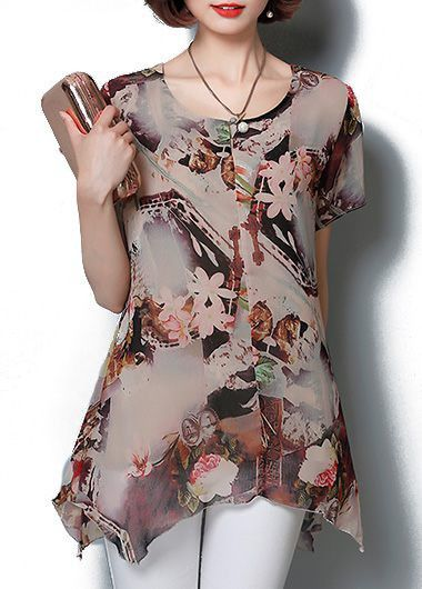 Asymmetric Hem Short Sleeve Flower Print Blouse, free shipping worldwide at rosewe.com.