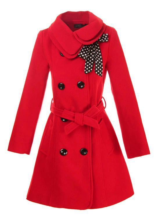 Double Breasted Coat Outerwear Jacket in Red
