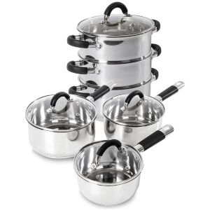 Tower 3 Piece Pan Set with Silicone Handles and 3 Tier Steamer (18cm) - Stainless Steel: Image 1