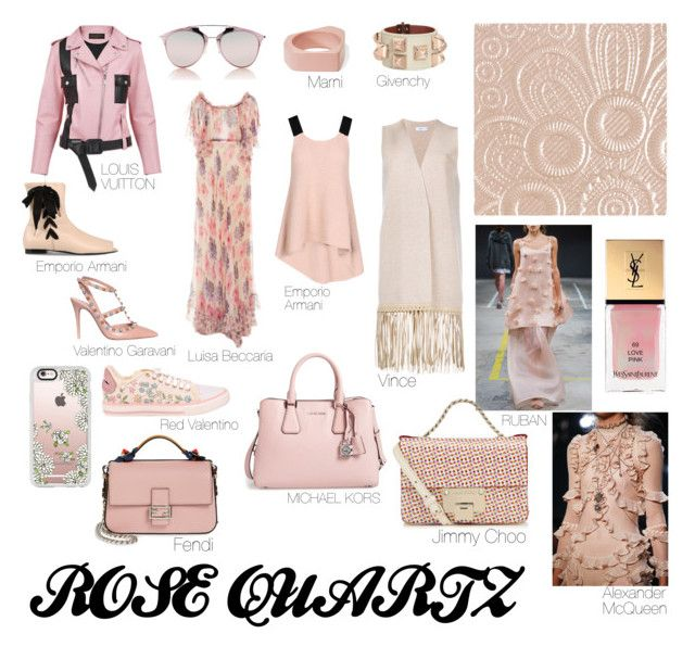 """""""Rose Quartz"""" by alyants-stylist on Polyvore featuring мода, Louis Vuitton, Vince, Casetify, Burberry, Ruban, Emporio Armani, Valentino, Fendi и Givenchy"""