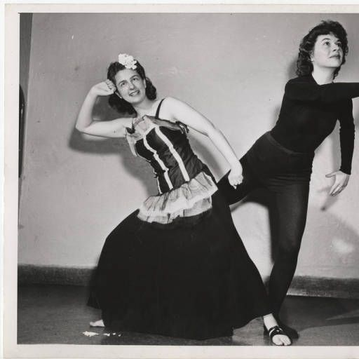Ellen Stern '46 as the Engaged Girl and Carolyn Coker '45 as the Fiancé in a humorous dance based on a Pond's commercial, choreographed by them and performed at the Kaufmann Auditorium in New York :: Archives & Special Collections Digital Images