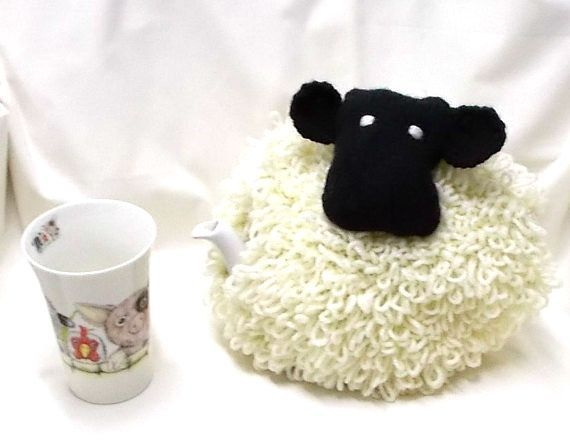 Knitted Tea Cosy, Hand Knit Sheep Tea Cozy, Hand made wool items, Hand-knit gifts, Tea Pot Cover, Tea drinkers gift, Home made Cosies