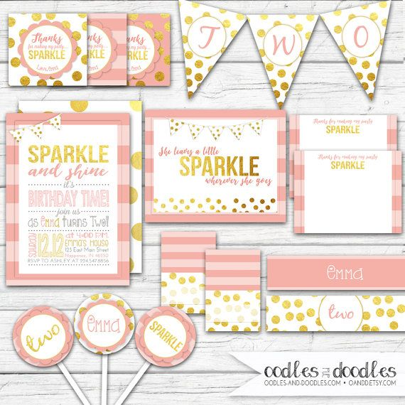 She Leaves a Little Sparkle Wherever She Goes, Pink and Gold Party, First Birthday, Sparkle and Shine, Blush, Glitter Party Printables
