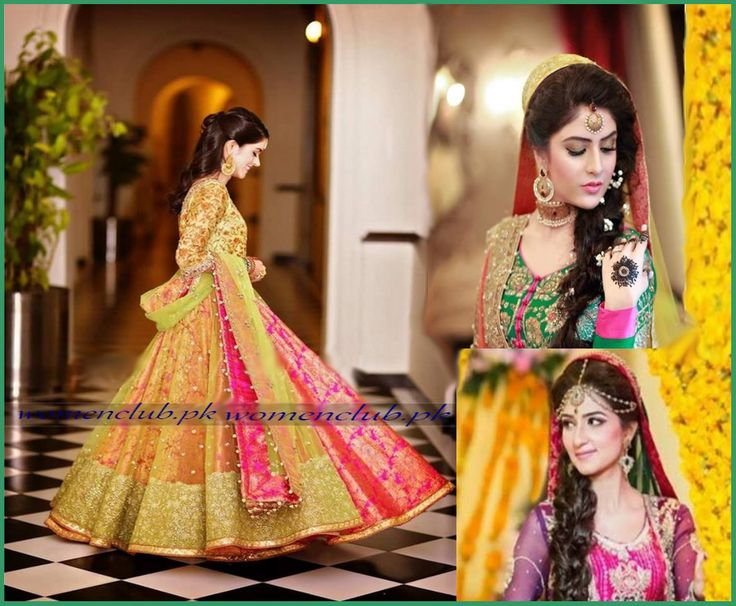 Mehndi Dress Designs 2016 With Different Hues For Brides
