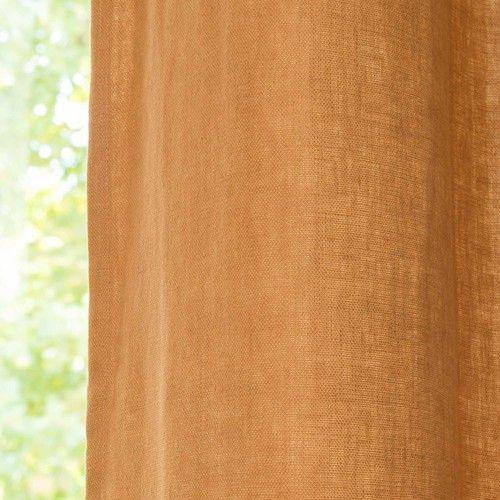 Vorhang aus grobem Leinen mit Ösen, 130 x 300 cm, fuchsorange