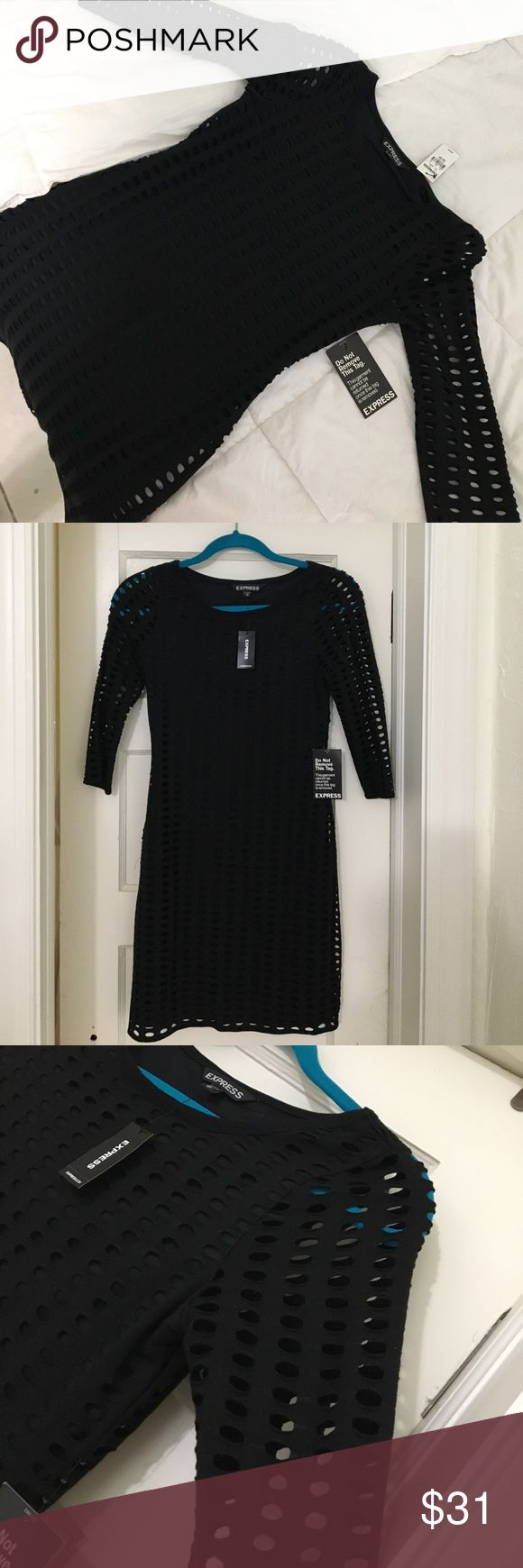 Express XS cocktail dress Beautiful, never worn, black knee length crochet cocktail dress. Tags are still on the dress. Size XS Express Dresses Long Sleeve