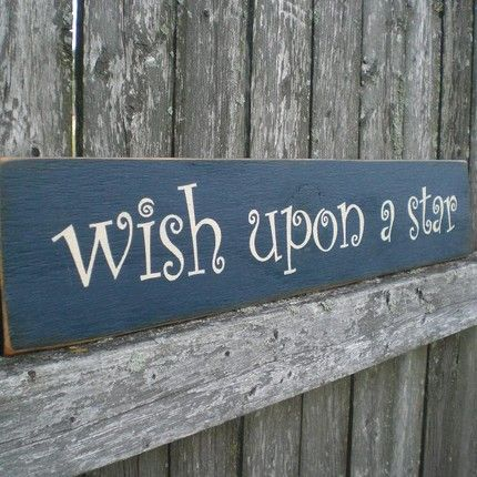 Primitive Wall Art Nursery Decor Wood Sign  Wish Upon A Star