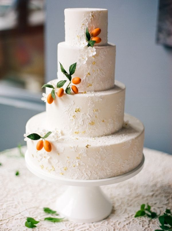 perfect peach cake with kumquat and gold details