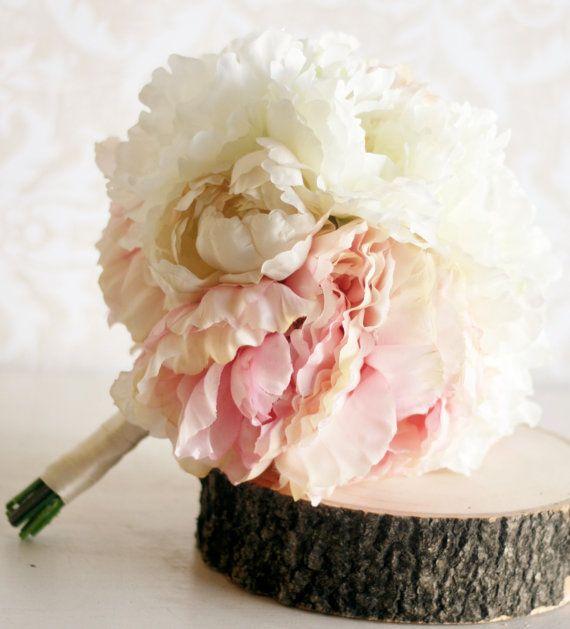 Silk Bride Bouquet Peony Flowers Peonies Shabby Chic Wedding Arrangement (item F10257)