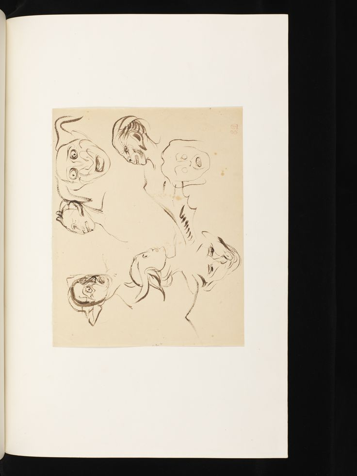 Étude pour des têtes diaboliques, dessin original de Delacroix. Présent dans le Faust (1828), traduit par Albert Stapfer et édité par Charles Motte, conservé à la Fondation Martin Bodmer. D'autres dessins originaux de Delacroix figurent dans cet exemplaire et sont disponibles sur bodmerlab.unige.ch