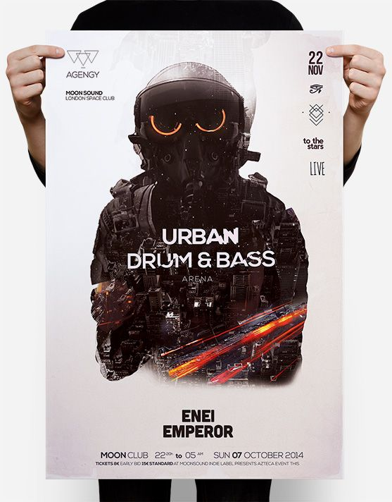 Drum & Bass Flyer is a double exposure psd template featuring a fighter pilot with neon eyes great for a dubstep, drum & bass, dub or dj party.