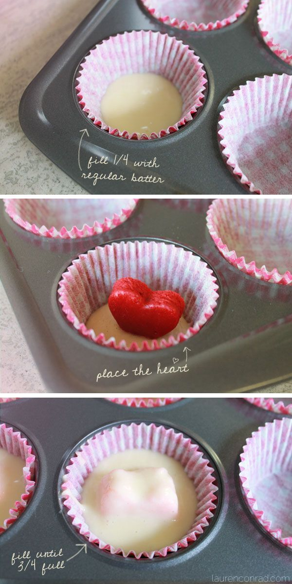 How to bake surprise inside heart cupcakes // perfect for valentine's day